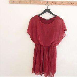 Lush Maroon keyhole Accordion Skirt Dress